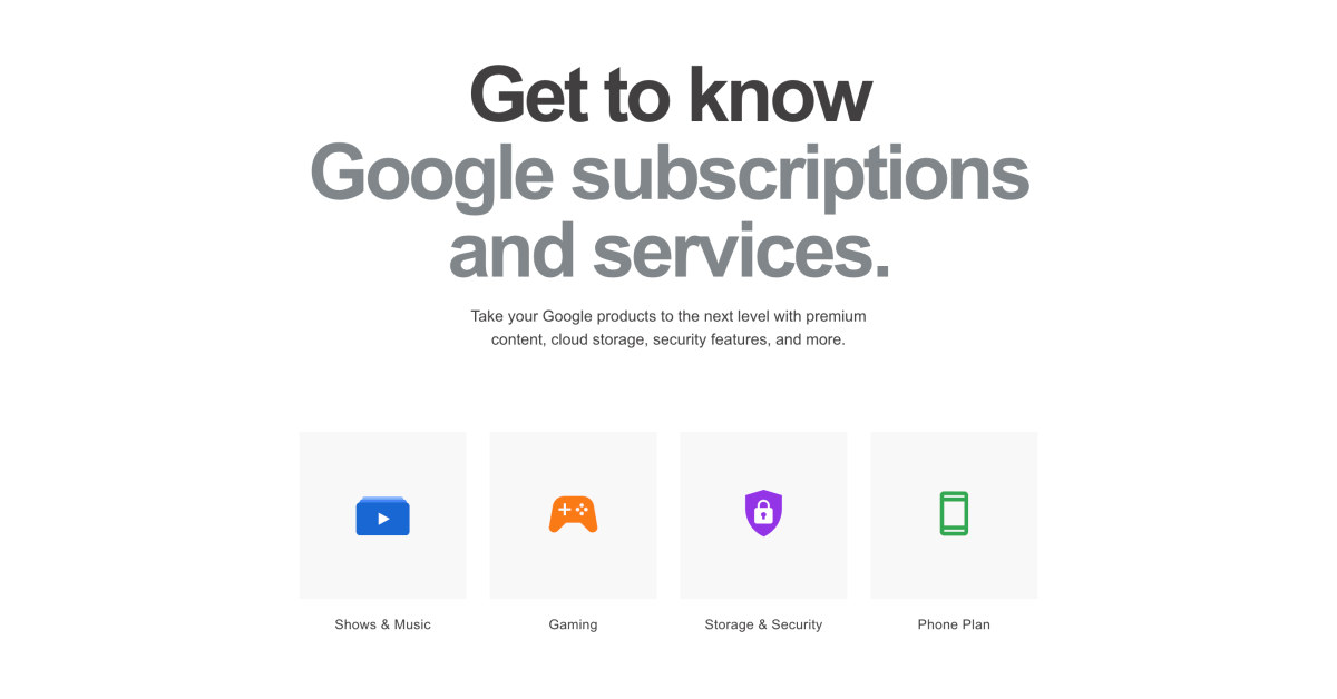 Google Store adds 'Subscriptions' page to advertise services