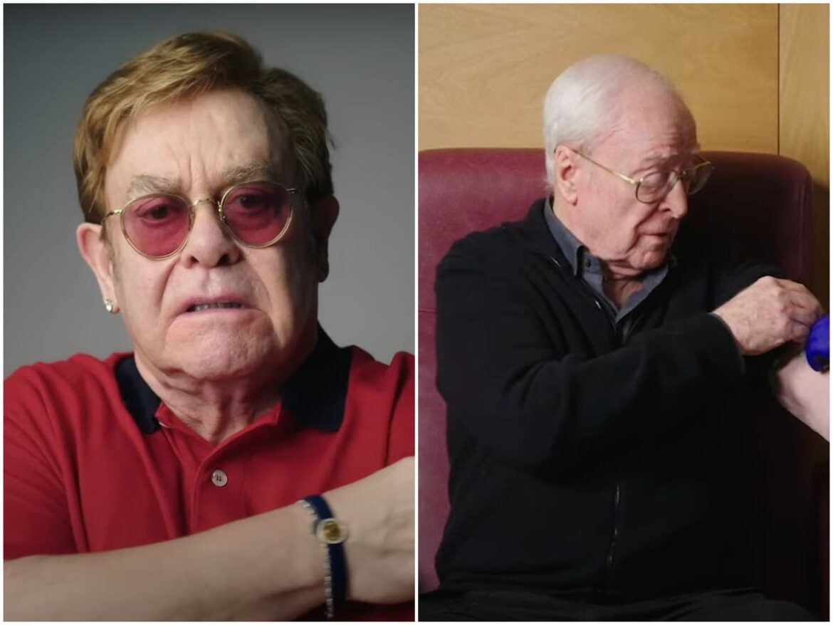 Elton John and Michael Caine go head to head in NHS video promoting coronavirus vaccine