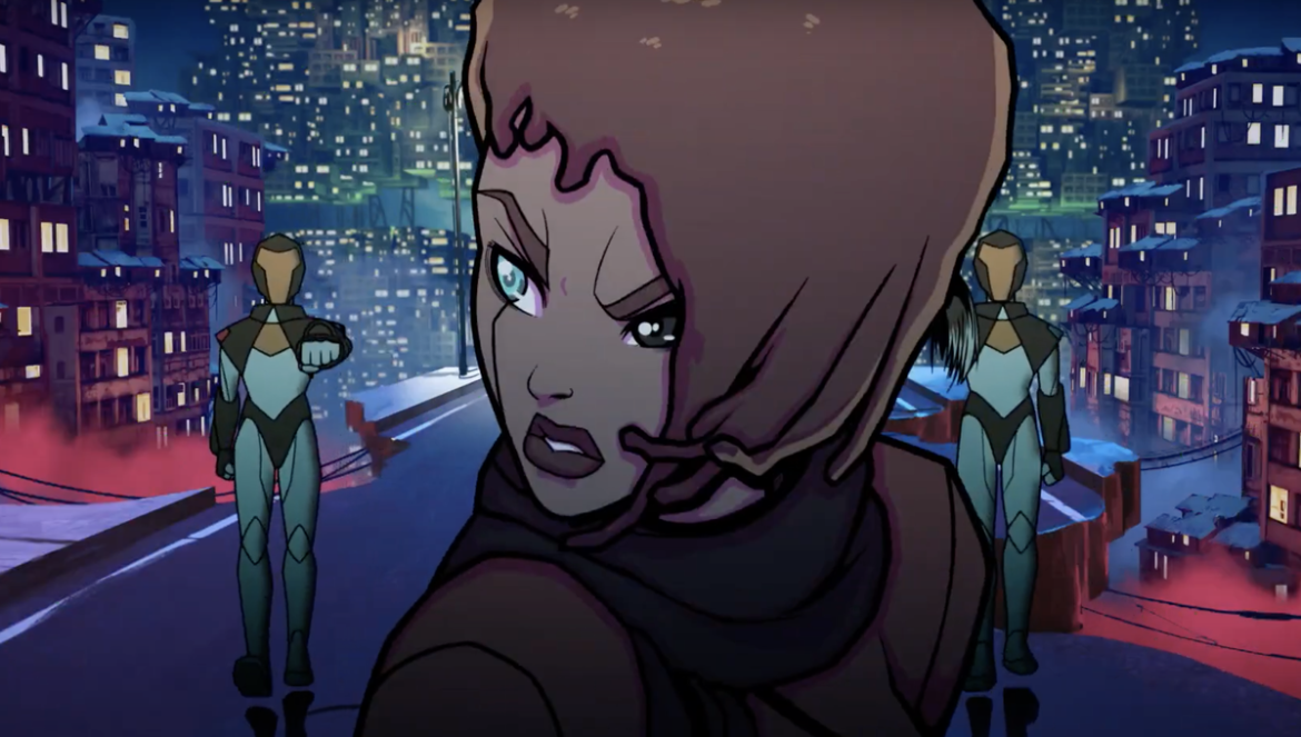'2319' is a cyberpunk action short with a Black heroine kicking butt