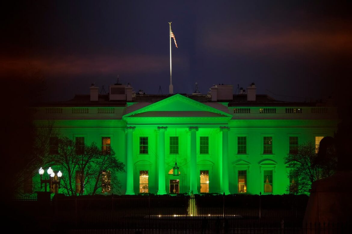 QAnon followers think White House's St Patrick's Day lighting was secret message
