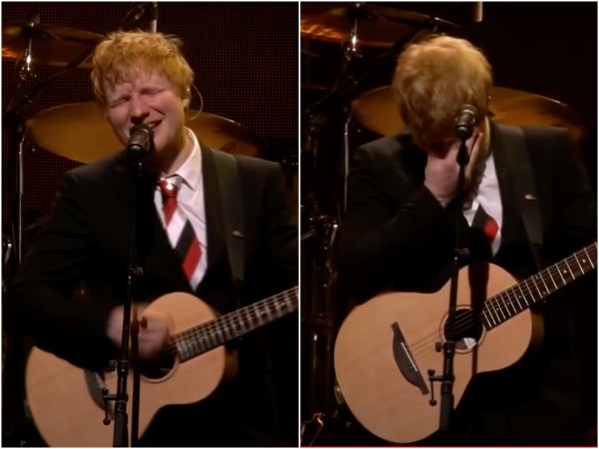 Ed Sheeran breaks down while performing at memorial concert for promoter and 'father figure' Michael Gudinski